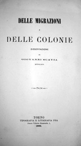 Giovanni Scavia - Delle migrazioni e delle colonie