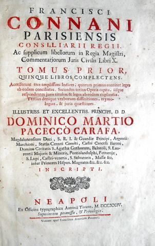 Francois Connan - Commentariorum juris civilis libri X - 1724