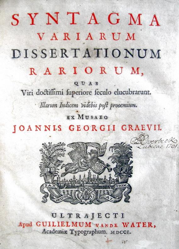 Graevius -Syntagma variarum dissertationum rariorum - 1701