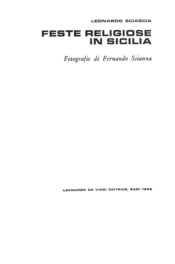 Leonardo Sciascia - Feste religiose in Sicilia - 1965 (prima edizione - foto di Fernando Scianna)