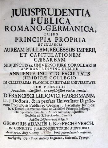 Fechenbach - Habermann - Jurisprudentia publica