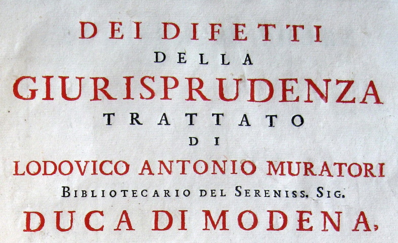 Ludovico Antonio Muratori - Dei difetti della giurisprudenza
