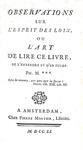 Joseph Barthelemy de La Porte - Observations sur l'Esprit des loix - Amsterdam 1751 (prima edizione)