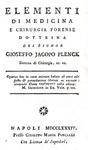 La medicina legale nel Settecento: Plenck - Elementi di medicina e chirurgia forense - Napoli 1784