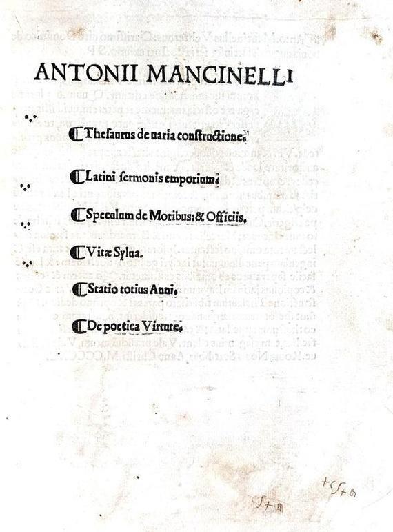Antonio Mancinelli - Opera omnia - Venetiis 1519
