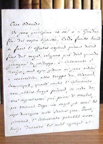 Giuseppe Mazzini - Lettera autografa a Odoardo Villani - Settembre 1847 (e cedola di finanziamento)