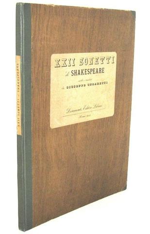 Sonetti di Shakespeare scelti e tradotti da Giuseppe Ungaretti - 1944 (rara prima edizione numerata)