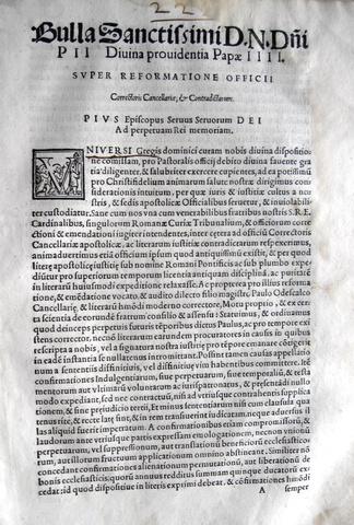 Blado: bolla di Pio IV sulla Cancelleria Apostolica