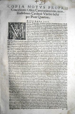 Moto proprio di Pio IV sul cardinale Vitelli