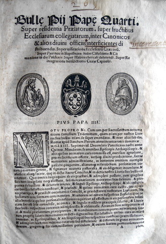 Blado: bolla di Pio IV su sacramenti e competenze clericali
