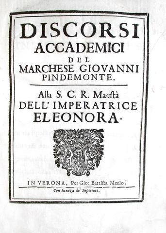 Osservazioni sulla luna: Giovanni Pindemonte - Discorsi accademici - Verona 1674 (prima edizione)