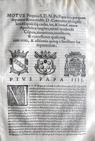 Pio IV disciplina la Reverenda Camera Apostolica