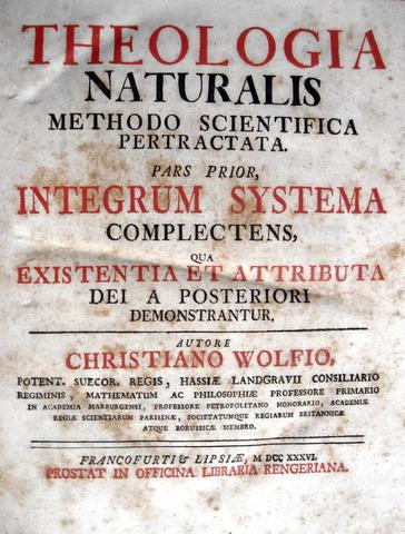 Christian Wolff - Theologia naturalis methodo scientifica pertractata - 1736