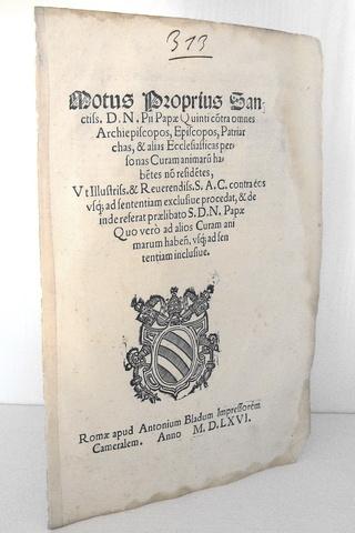 Pio V sulla residenza dei vescovi