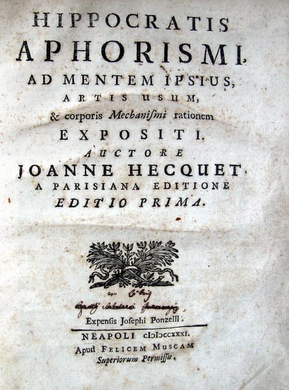 Hippocrates - Aphorismi, ad mentem ipsius, et corporis mechanismi rationem expositi - 1731