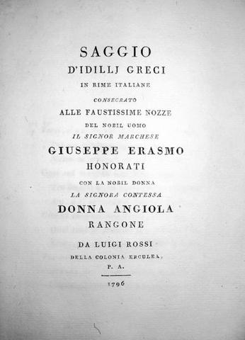 Rossi - Idillj greci in rime italiane (Bodoni)