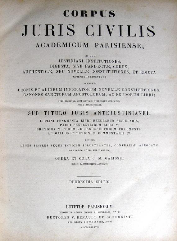 Corpus juris civilis academicum parisiense (edizione Galisset) - 1888