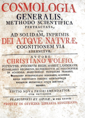 Christian Wolff - Cosmologia generalis methodo scientifica pertractata - 1737