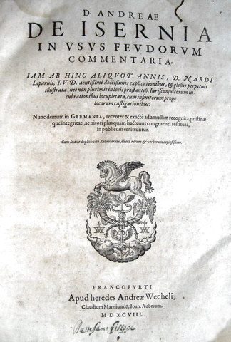 Andrea d'Isernia - In usus feudorum commentaria - 1598