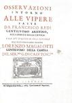 Francesco Redi - Osservazioni intorno alle vipere - 1664 (prima edizione nella variante più rara)