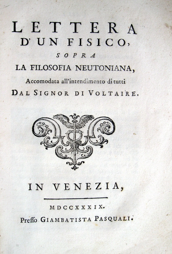 Noel Regnault - Lettera d'un fisico sopra la filosofia neutoniana - 1739