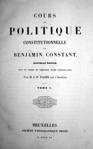 Benjamin Constant - Cours de politique constitutionelle