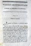 Foscolo - Sterne - Viaggio sentimentale di Yorick - 1823