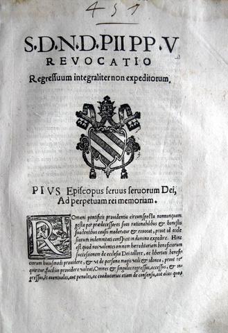 Bolla di Pio V sul regresso