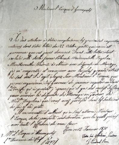 Bartolomeo Pacca - Lettera autografa 1830