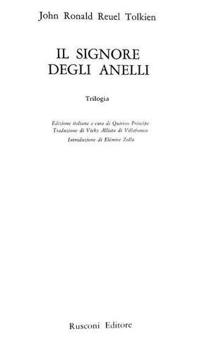 Un classico della narrativa high fantasy: Tolkien - Il signore degli anelli - 1971 (terza edizione)