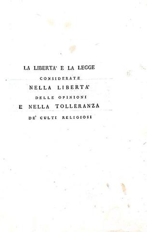 Palmieri - La libertà e la legge considerate nella libertà delle opinioni - 1798 (prima edizione)