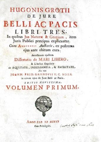 Hugo Grotius - De jure belli ac pacis libri tres - Napoli 1719