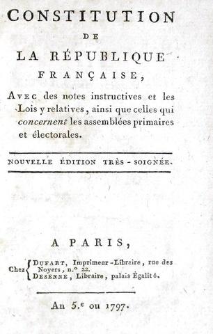 La Costituzione francese: Constitution de la République Francaise - Paris 1797