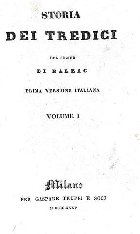 Honoré de Balzac - Storia dei tredici - Milano, Truffi 1835 (rara prima edizione italiana)