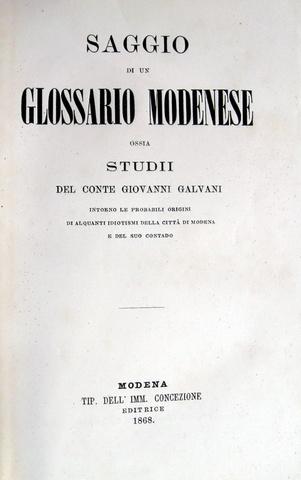 Galvani - Saggio di un glossario modenese