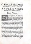 La vita di Andrea Doria: Sigonio - De vita & rebus gestis Andreae Auriae - 1586 (prima edizione)