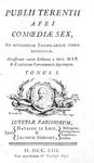 Le commedie di Terenzio: Terentius - Comoediae sex - 1753 (stupenda legatura, incisioni di Gravelot)
