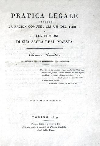 Pietro Gaetano Galli della Loggia - Pratica legale secondo la ragion comune - 1819/29