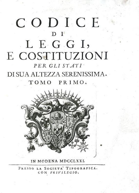 La celebre e rara prima edizione del Codice Estense: Codice di leggi e costituzioni - Modena 1771