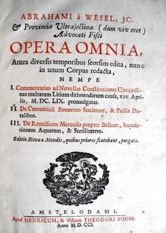 Abraham van Wesel - Opera omnia
