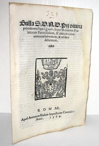 Blado: bolla di Pio IV sulle residenze dei prelati