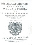 Giuseppe Palmieri - Riflessioni critiche sull'arte della guerra - 1761 (rarissima prima edizione)