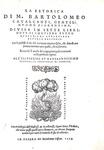 Bartolomeo Cavalcanti - La retorica, divisa in sette libri - Pesaro 1559 (rara terza edizione)