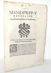 Bolla di Pio V che disciplina il diritto di regresso - Roma, Blado 1571