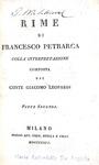 Le Rime di Petrarca con l'interpretazione di Giacomo Leopardi - Milano 1826 (rara prima edizione)