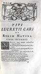 Titus Lucretius Carus - De rerum natura libri sex - Lutetiae Parisiorum 1754