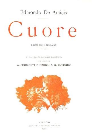 Letteratura per l'infanzia: De Amicis - Cuore. Libro per i ragazzi - Treves 1905 (bella legatura)
