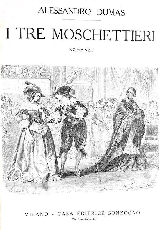 Alexandre Dumas - I tre moschettieri - Sonzogno 1880 ca. (con decine di belle illustrazioni)