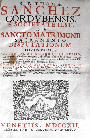 Thomas Sanchez - De sancto matrimonii sacramento disputationum - 1712