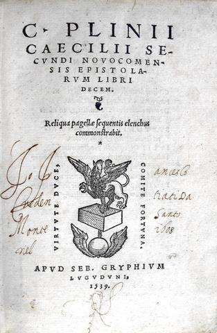 Plinius - Epistolarum libri decem - Lugduni 1539